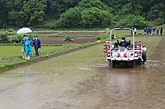 ヤンマー田植え機によるコラボ授業が行われました。